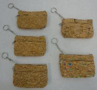 "5""x3.25"" Two-Compartment Zippered Change Purse [Cork]"